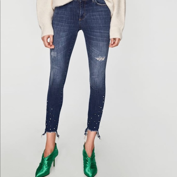 Zara Basic Denim Jeans with Pearls